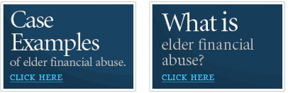 Case Studies on the left. What is Financial Elder abuse on the right.